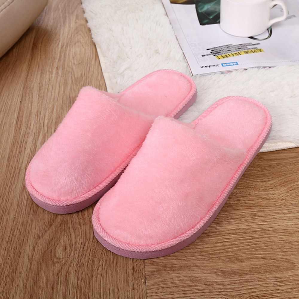 JAYCOSIN Kadınlar Sıcak Ev Peluş Yumuşak Terlik Kapalı kaymaz Kış Kat Yatak Odası Ayakkabı Bayanlar Düz Renk kışlık terlik #45