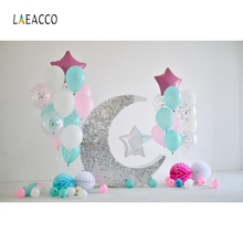 Laeacco Balloons Flowers Moon Stars Baby Birthday Party Photography Background Customized Photographic Backdrop For Photo Studio