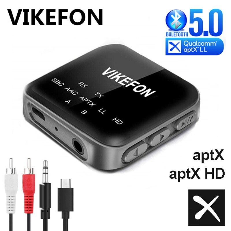 Receptor y transmisor de Audio Aptx HD LL Bluetooth 5,0, adaptador inalámbrico con clavija RCA de 3,5mm, AUX, con micrófono para TV, PC y altavoz de coche