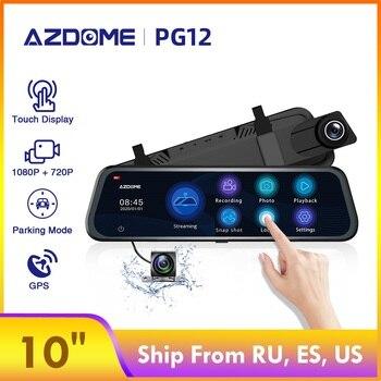 "AZDOME Car Dvr PG12 Rearview Mirror Dash Cam 10"" Full-Screen Touching Streaming Media Dash camera 1080P Dual Lens Night Vision"
