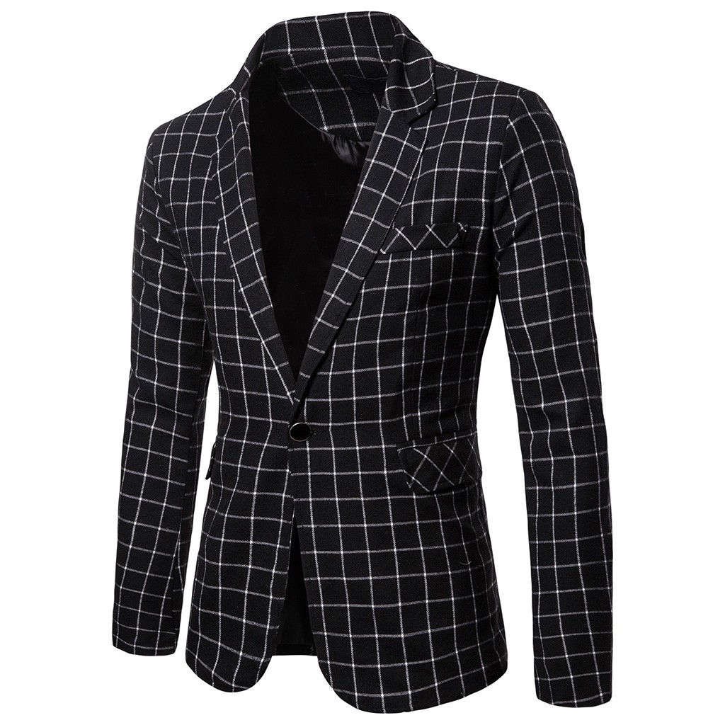 Charm Men's Casual Fit Slim Suit One Button Business Coat Jacket Plaid BlouseDrop Shipping Supplier Selling Discount Girl Boy