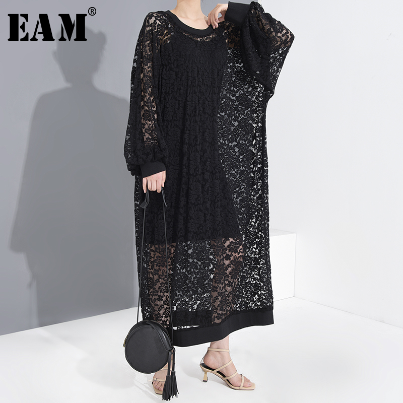 [EAM] Women Black Lace Hollow Out Long Big Size Dress New Round Neck Long Sleeve Loose Fit Fashion Tide Spring Summer 2020
