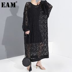 [EAM] femmes noir dentelle évider longue grande taille robe nouveau col rond manches longues coupe ample mode marée printemps été 2020