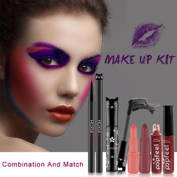 Zestawy do makijażu kosmetycznego kosmetyki seria Cat długi gruby czarny tusz do rzęs Eyeliner trwała matowa szminka wilgoć błyszczyk tanie i dobre opinie TEAYASON Eyeliner + mascara + Lip gloss + Lipstick 4pcs set ZH0205 Zestaw do makijażu