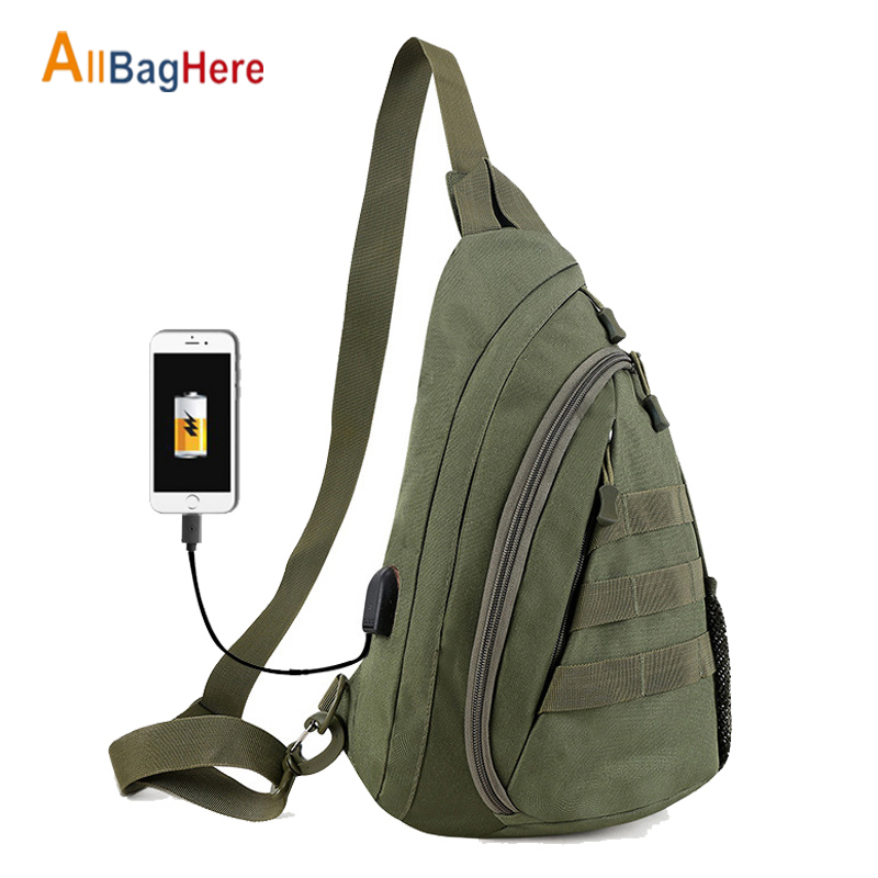 USB Charging Military Chest Bag Men Outdoor Sports Camo Cycling Hiking Bags Tactical Oxford Waterproof Sling Shoulder Chest Pack