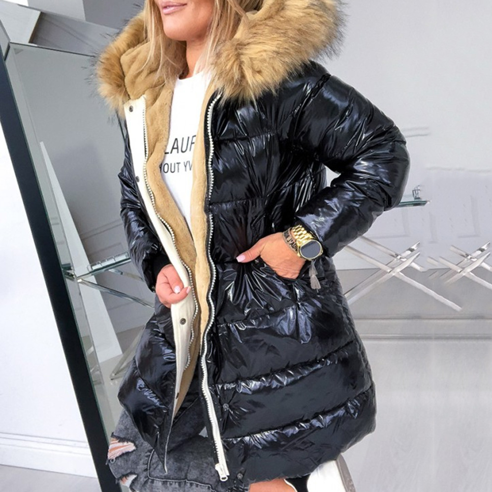 Cotton Padded Down Jacket Women Winter Coat Warmness XXXL Plus Size Black  Thick Fleece Fur Hood Outwears Lady Quilted Coats