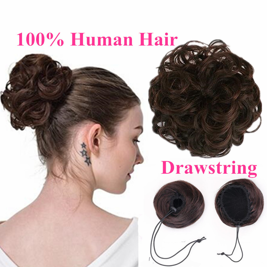 100% Human Hair Bun Extensions Drawstring Chignons Hair Piece Wig Wavy Curly Messy Hairpiece Non-remy Brazilian Brown Color