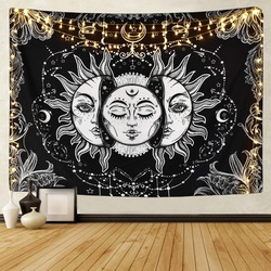 Белый черный гобелен с изображением Солнца и Луны мандалы, настенный подвесной гобелен в стиле небесного происхождения, настенные ковры в с...