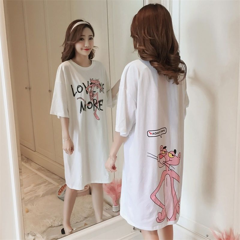 Summer Pure Cotton Short Sleeve Nightgown Women's Korean-style Loose-Fit Cartoon Students Cute Pajamas Summer Thin Outer Wear Ma