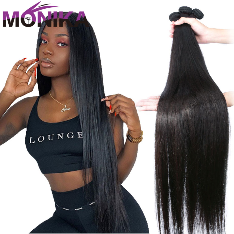Monika 30 inch Bundles Straight Hair Bundles Human Hair 3 Bundles Brazilian Hair Weave Bundles Non-Remy Mecienne Hair Extensions title=
