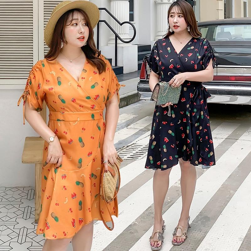 [Xuan Chen] Summer New Products Plus-sized WOMEN'S Dress Fat Mm Slimming Dress Fruit Women Dress A Generation Of Fat W007