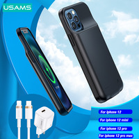 USAMS Battery Charger Back Case For Iphone 12 pro max mini Portable Power Bank Charger Cover Case Power Bank Charging Slim Cover