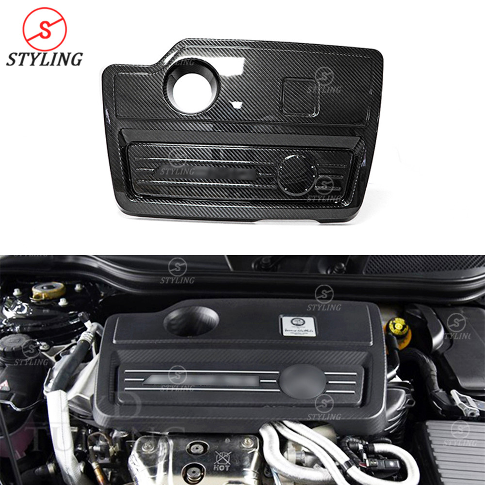 A45 AMG couvercle de capot de moteur de pare-chocs pour mercedes-benz CLA45 GLA45 AMG revêtement de moteur en Fiber de carbone garniture intérieure noir brillant 2014 +