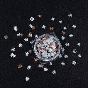 Image 5 - 1 коробка, белый металл, Рождественский Снежный хлопья, сделай сам, дизайн ногтей, блестящие украшения, зимние подвески, Пыль для типсов, аксессуары для маникюра, LE1035