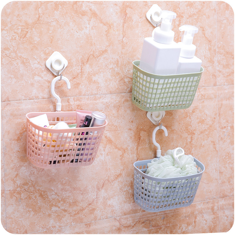 The New Hook Bath Basket Fashion Hollow Plastic Bathroom Shower Basket Household Multi-function Receive Basket In The Kitchen