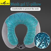 2019 Travel Accessories Mesh Gel U shaped Pillow Bamboo Charcoal Memory Cotton Removable Travel Pillow Neck almohada Travel Use