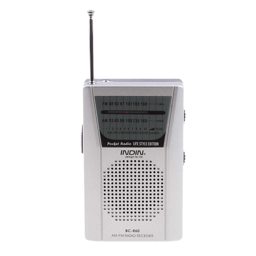 Đài Phát Thanh Di Động, BC-R60 AM/FM Mini Di Động Ăng Ten Kính Thiên Văn Vô Tuyến Bỏ Túi Loa Ngoài Trời