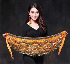 Image 5 - Women Belly Dance Costume Hip Scarf Accessories Belt Skirt  Bellydance Coins Silk Scarf Waist Chain Wrap Crystal Adult Dancewear
