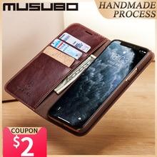 Custodia Musubo per iPhone 11 Pro Max custodia in vera pelle Flip Cover 11 Pro Fundas lusso per iPhone Xs XR 8 7 6 Plus portafoglio Coque