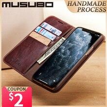 Musubo etui na iPhone 11 Pro Max oryginalne skórzane etui z klapką 11 Pro Fundas luksusowe na iPhone Xs XR 8 7 6 Plus portfel Coque