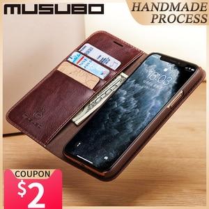 Image 1 - Musubo מקרה עבור iPhone 11 פרו מקס אמיתי עור Flip מקרי כיסוי 11 פרו Fundas יוקרה עבור iPhone Xs XR 8 7 6 בתוספת ארנק Coque