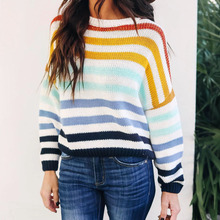 Retro hit color Rainbow Stripe Women Knitted Sweater Autumn Women Knitted Sweater Crew Neck Loose Lady Knitted Sweater D30 crew neck color block panel rib design sweater