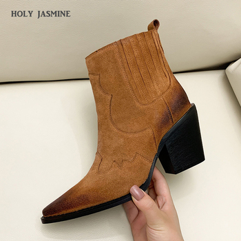 Leather Boots Women Genuine Pointed Toe Mid Heel Ankle Boots Thick Square Heel Slip On Western Boots Cowboy Boots Women 2020 New 2018 new winter fashion pointed toe lace up genuine leather print flower zip rivets women ankle boots thick heel chelsea boots l