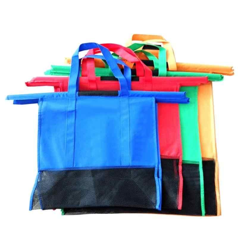 عربة عربة حقيبة تسوق من السوبر ماركت البقالة انتزاع أكياس التسوق حمالة قابلة للطي صديقة للبيئة قابلة لإعادة الاستخدام سوبر ماركت حقائب 4 قطعة/المجموعة