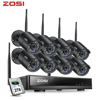 цена на ZOSI 8CH H.265 1080P HD Wireless WiFi NVR Kit Indoor Outdoor Waterproof IP66 Night Vision Security IP Camera WiFi CCTV System