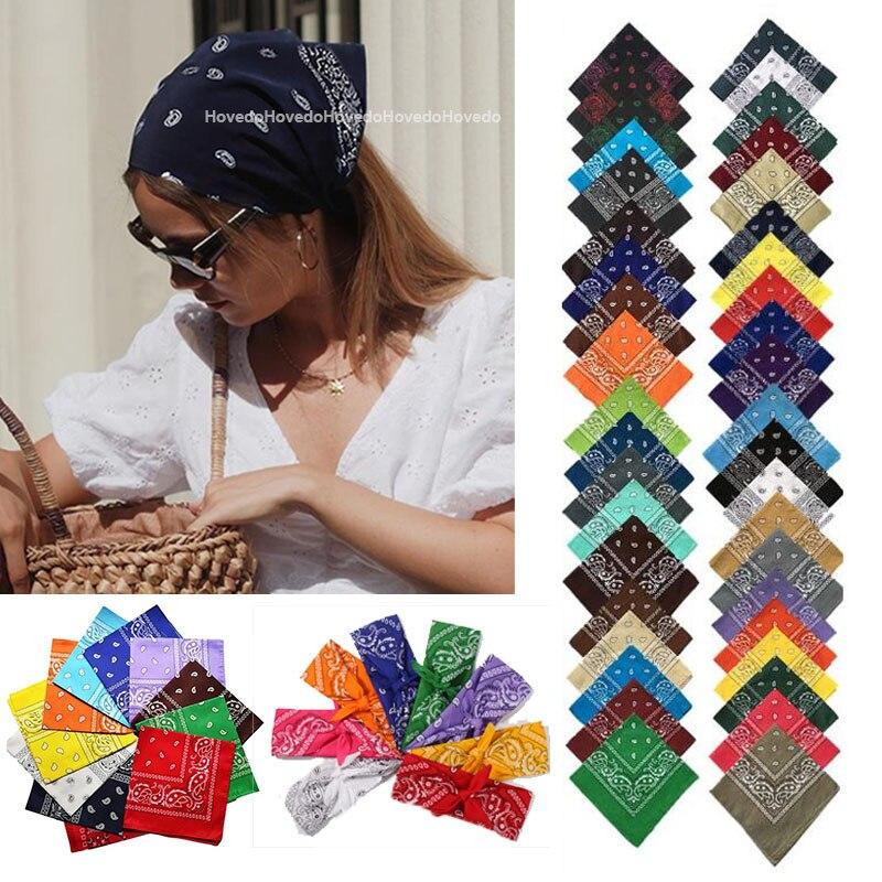 Fashion Women Print Bandana Scarf Hip-hop Bandanas Cross Turban Headband Face Mask Hair Tie Vintage Multifunctional Square Scarf