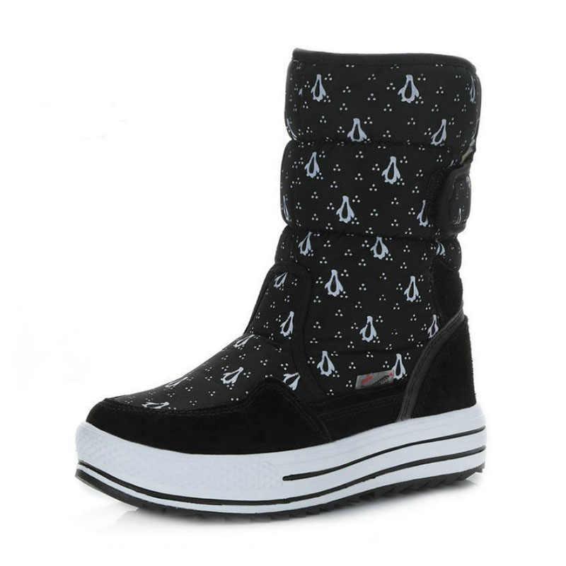 Taoffen Leder Druck Frauen Schnee Stiefel Mode Plattform Wasserdichte Schuhe Frauen Nicht-Slip Outdoor-Winter Casual Zapatos Größe 34-41