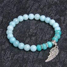 Blue Natural Aquamarines Bracelet Women Wing Charm Crystal Femme Jewelry Beads Romantic Casual Yoga