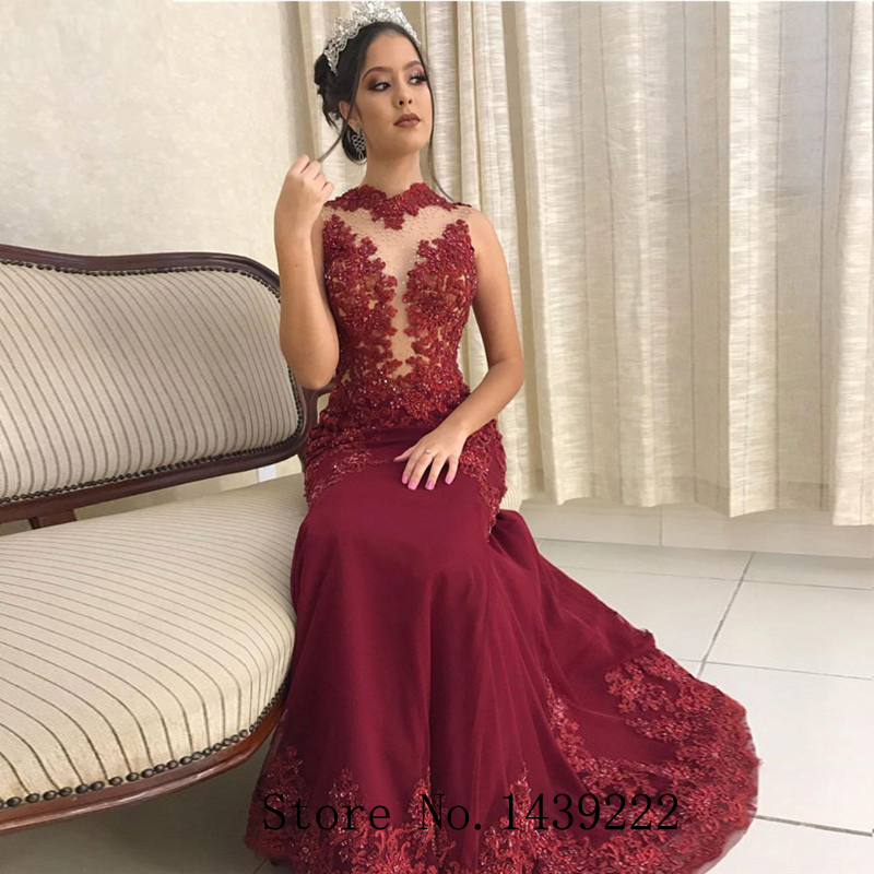 Sofuge Burgundy Long Evening Gowns Beads Pearls Appliques Graduation Formal Celebrity Dresses Robe De Soiree Evening Dress