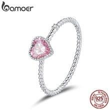 Cz-Ring Wedding-Accessories Fine-Jewelry 925-Sterling-Silver Pink Bamoer Fashion Women