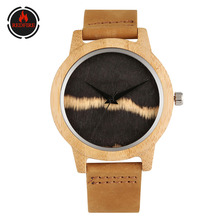 REDFIRE Men's Watch Genuine Leather Quartz Wrist Wooden Clock Casual Fashion Mens Watches Hot Wood Watch Gifts for Male reloj