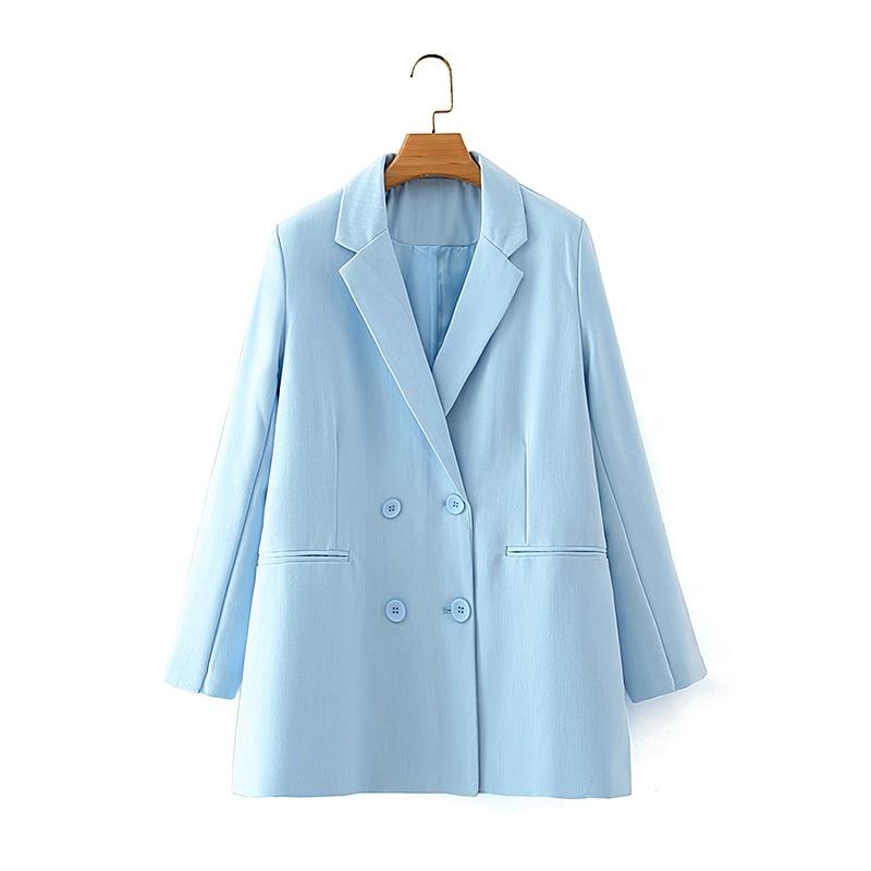ZXQJ-Chaqueta Lisa azul para mujer, trajes de doble botonadura, informal, con cuello con muescas, elegante, 2020