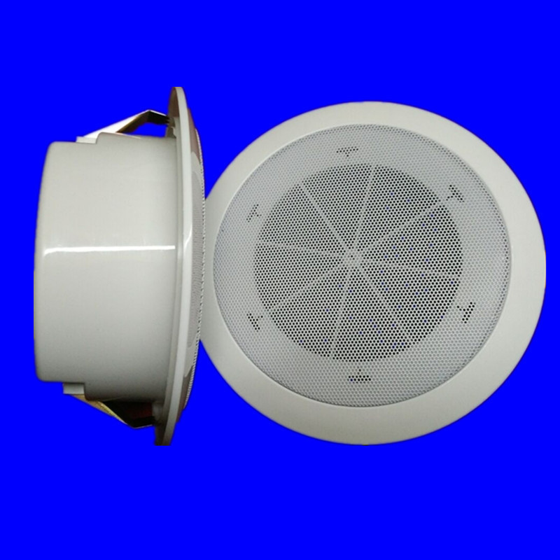 White Ceiling Horn With Rear Cover Fixed-pressure Steel Mesh Ceiling Horn, Ceiling Horn Broadcast Audio