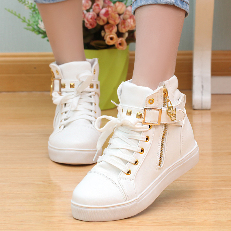 Canvas Shoes 2019 Women Shoes Fashion Zipper Wedge High Top Solid Color White Shoes Woman Sneakers Tenis Feminino