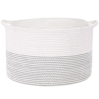 Storage Baskets  21.7 Inches(D) X 13.8 Inches(H)  Cotton Rope Basket Woven Baby Laundry Basket with Handle for Diaper Toy Cute N|Laundry Baskets| |  -