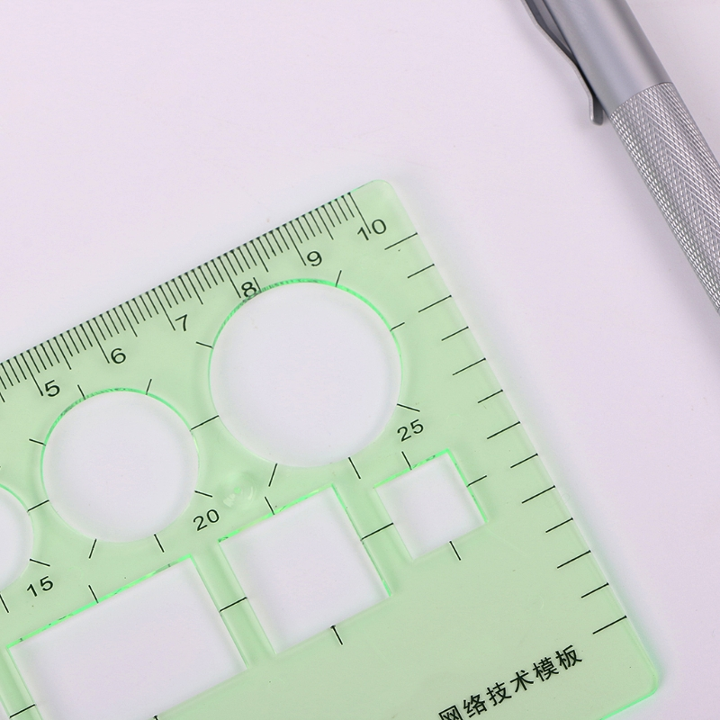 Pro Plastic Circles Square Round Geometric Template Ruler Stencil Measuring Tool R9UA