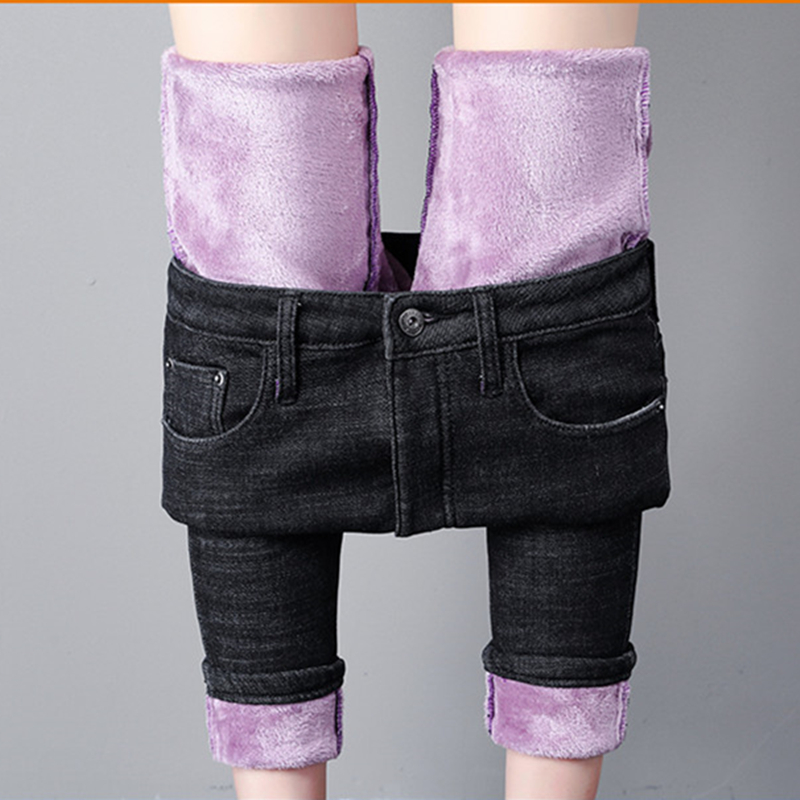 Candy Color Winter Fleece Jeans Women Warm Thicken Denim Pencil Pants Fashion Skinny Solid Jean Pants Sexy Slim Streetpant P9198