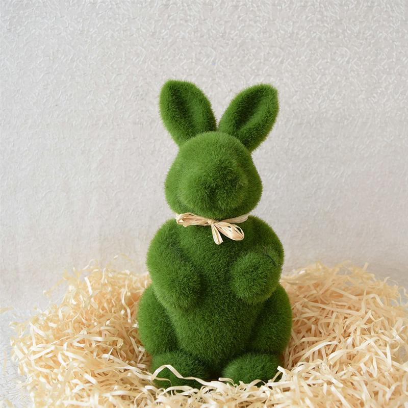 1PC Artificial Moss Easter Rabbit Ornaments Cute Creative Bunny For Easter Living Room Home Office Table Decorations