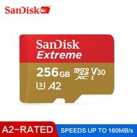 SanDisk-Tarjeta Micro SD para ordenadores, memoria de 256GB A2 de velocidad de lectura de 160M/s, U3 V30 64 GB, 128 GB, soporte Full HD (1920x1080) y 4K UHD (3840x2160), UHS-I TF
