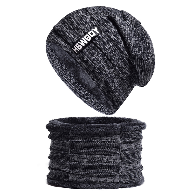 2pc Men Hat And Scarf Set Fleece Lining Winter Hat Ring Scarf Neck Hood Black Brown Grey Red