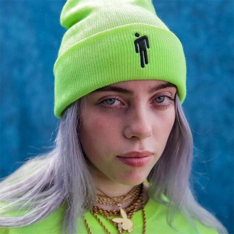 Billie Eilish Same Paragraph Embroidery Skullies Beanies Women Men Autumn Winter Warm Knit Hat Street Fashion Hip-hop Cap Z208