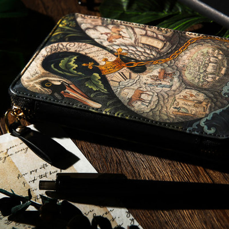 2020 Yiwi 1 Set Noble Swan Chessboard Theme Limited Zip Bag Planner A6 Diary Pu Leather Notebook With Month