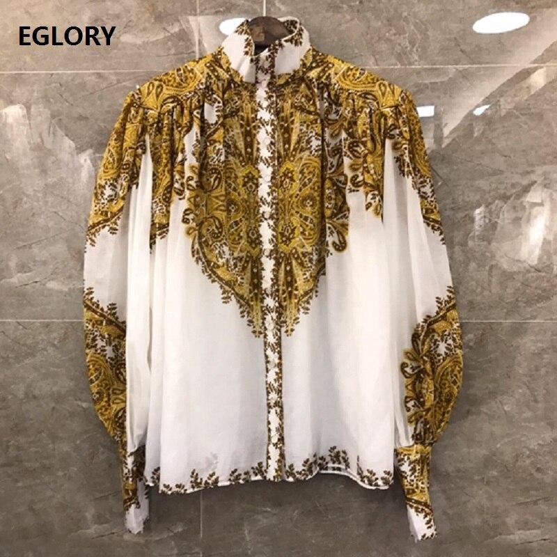 Haute qualité Designer Blouse chemise 2019 automne haut de grande taille femmes Vintage imprimé à manches longues décontracté lâche chemise Blusas Feminino
