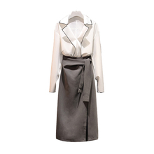 Big Yards Autumn Outfit New Suit Women Two-Piece Clothing Set Chiffon Shirt Bow Long Skirt Top Design Clothes Plus L -3XL