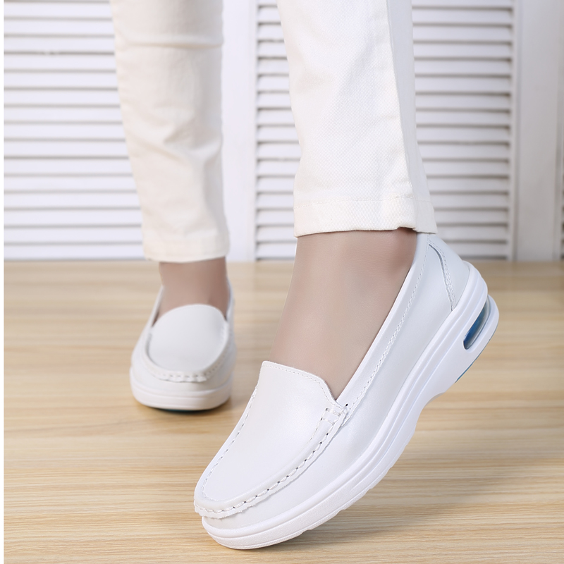 Plardin New Women White Nurse Shoes Woman Platform Soft Comfortable Air Cushion Casual Genuine Leather Antiskid Shoes Flats image