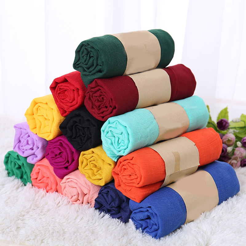 Autumn And Winter Fashion Scarf Shawl Hot Sale Blue Rose Red Woman's Scarf High Quality Cotton Solid Linen Scarves For Women